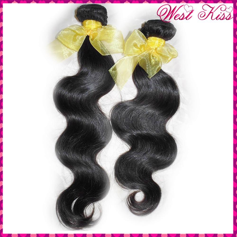 WestKiss Factory Sale Grade 8A Raw human hairs 2 bundles Deal Laotian Body Wave Virgin Weaves No Corn-chip smell(China (Mainland))