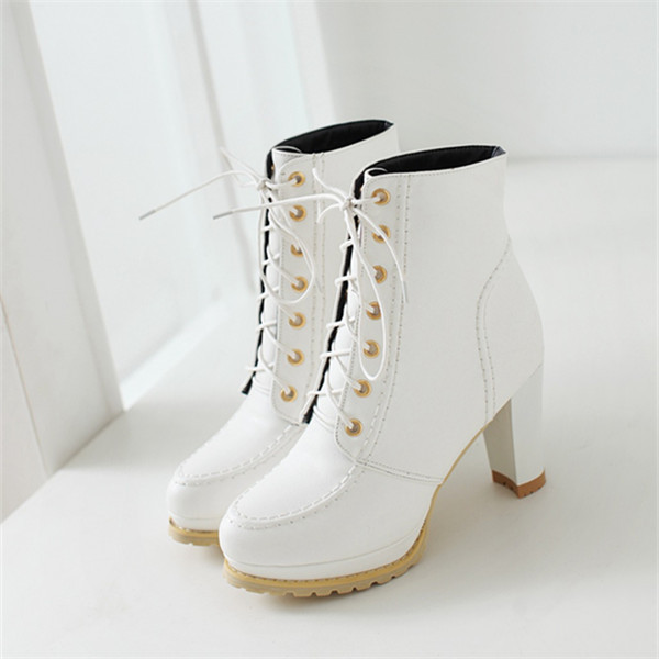 2015 new winter leisure british style lace-up ankle women boots high heel women boots comfortable and breathess women bootE4041<br><br>Aliexpress