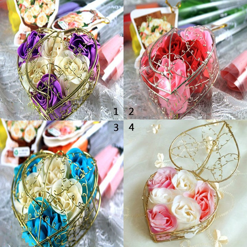 Free shipping Wholesale High quality mix colour rose soap flower(6pcs/box.4boxes/lot) for romantic bath and valentine's gift.(China (Mainland))