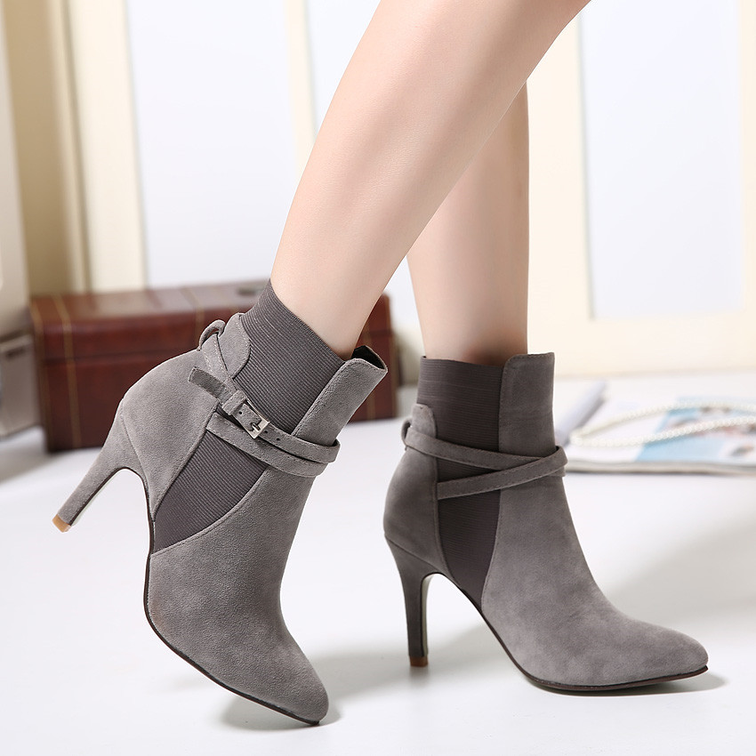 Гаджет  High Heels Boots Women Thin Heels Sexy Pointed Toe Autumn and Winter Solid Color Fashion Bandage Shoes Female Size 34-39 None Обувь
