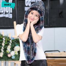 Baru Fashion Nyata Rex Kelinci Bulu Berkerudung Syal 100% Alami Wanita Rajutan Kelinci Bulu Syal Musim Dingin Hangat Real Rex Kelinci bulu Syal(China)