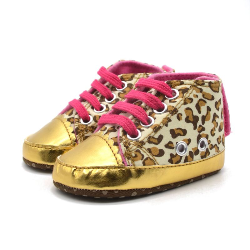 One Pair Baby Kids Leopard Crib Shoes Soft Soled Anti-Slip Lace Prewalkers <br><br>Aliexpress