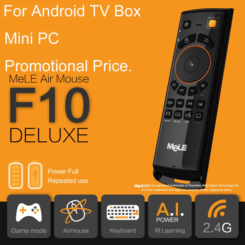 MeLE F10 Deluxe Wireless Keyboard Fly Air Mouse 2.4GHz 6 Axial Gyro Game Learning for Mini PC TV Box Remote Control Wholesales(China (Mainland))
