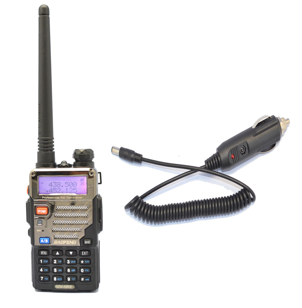 portable radio sets New Black BAOFENG UV-5RE walkie talkie VHF/UHF Dual Band two way Radio + Car charger Cable +free shipping(China (Mainland))