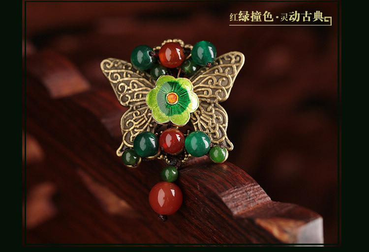 2015 new ethinic design cloisonne agate chinese style ring large butterfly vintage national trend decoration female(China (Mainland))
