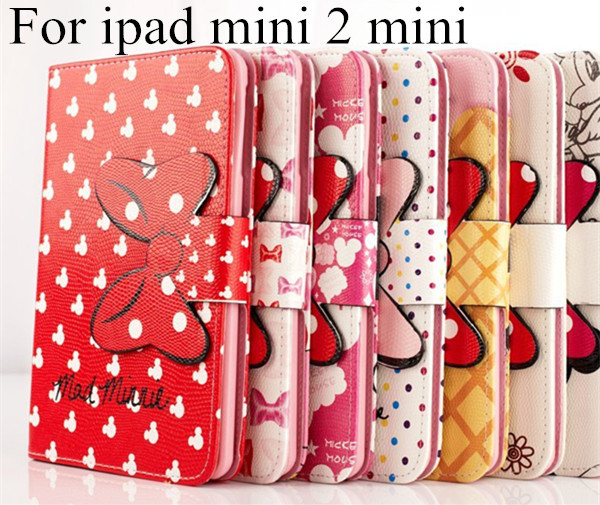 Hot 3D Cartoon bow-knot Mickey Minnie Flip Stand Leather Card Holder Smart Case for Apple iPad Mini1 / 2 /3 mini 4 Tablet cover(China (Mainland))