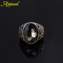 Brand new hollow out design cool big oval grey crystal antique men's rings jewelry fashion(China (Mainland))