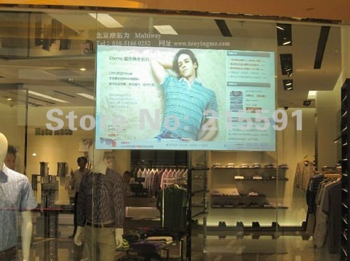 High quality  holographic rear projection transparent  screen shop window glass,  free shipping cost