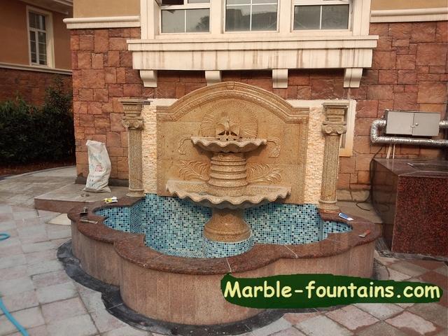 Pared exterior fuentes de agua de talla de piedra con - Fuentes de piedra de pared ...
