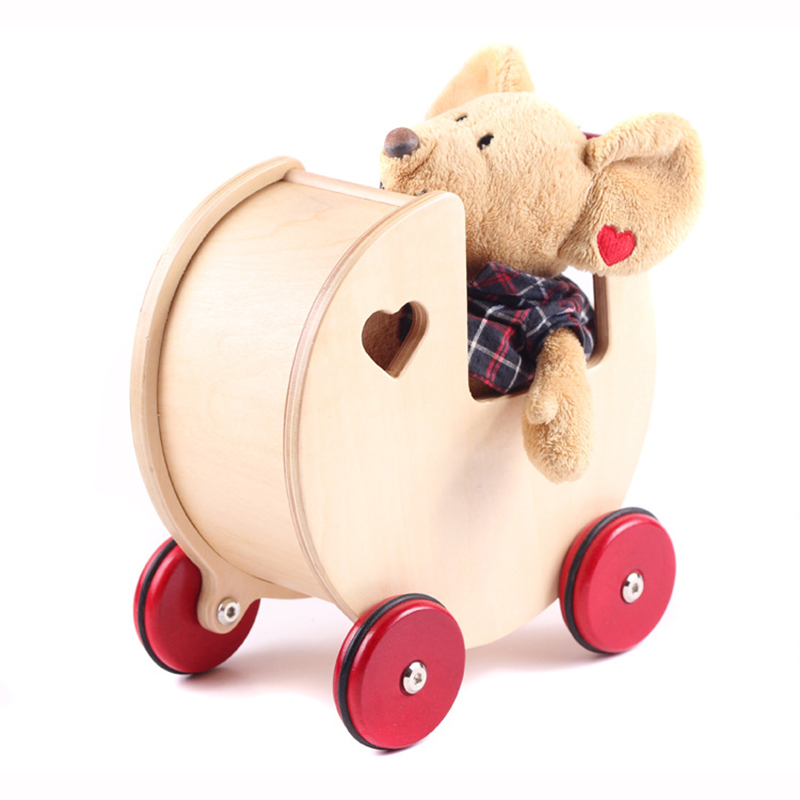Wooden Toys for Children MOOVER Brand Red Heart Mini Car Dolls Safer Wood Baby Walker Natural Mini Toy 24*24*14cm(China (Mainland))
