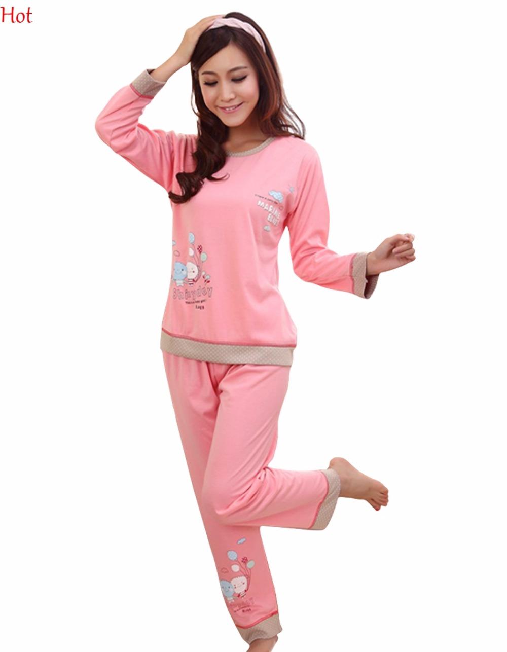 2016 New Women's Long Sleeve Cartoon Pattern Cotton Pajamas Sleepwear Sleep Clothes Pink M/L/XL(China (Mainland))
