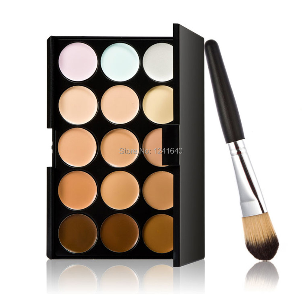 New 15 Colors Contour Face Cream Makeup Concealer Palette Powder Brush  # Free Shipping DHL EMS UPS(China (Mainland))