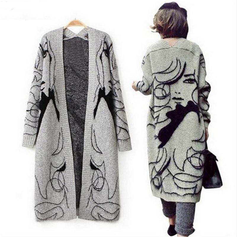 New 2015 Autumn Winter Knitted Long Cardigan Women Fashion Pretty Girl Print Maxi Cardigan Loose Oversized Cardigan Coat Women