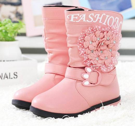 Hot sales winter Children's fashion boots Han edition diamond floral girl's princess boots High help keep warm snow boots A045(China (Mainland))