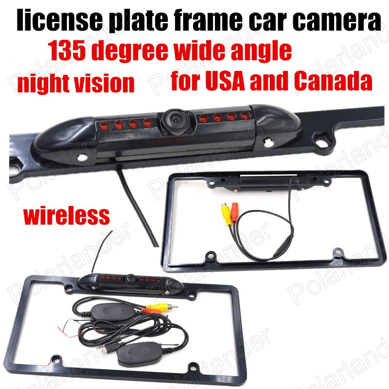 Newest 8 LED Night Vision wireless car auto license plate frame camera vehicle reverse rear view backup camera for US and Canada(China (Mainland))