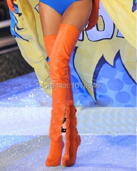 Orange Thigh High Boots - Yu Boots