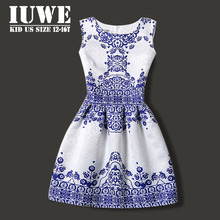 Summer Dress For Girls of 12 Years 2016 Sleeveless Blue Printed Big Size Princess Dress Teenager Girl Dress Vetement Fille Robe