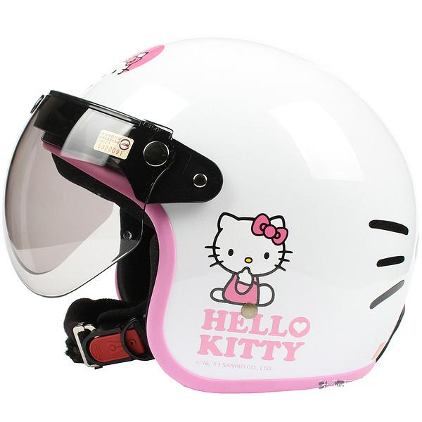 "Фотография HH#37 Taiwan ""EVO"" Vintage Motorcycle Cycling Scooter Motorbike "" Hello Kitty Big Face "" Bright White Helmet & UV ""W"" Lens Adult"