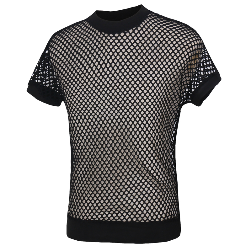 Summer 2016 Fashion Mens Sexy Grid Singlet Fishnet Transparent Mesh T Shirts Man Exotic Cut-outs Fitness Undershirt Funny Shirt(China (Mainland))