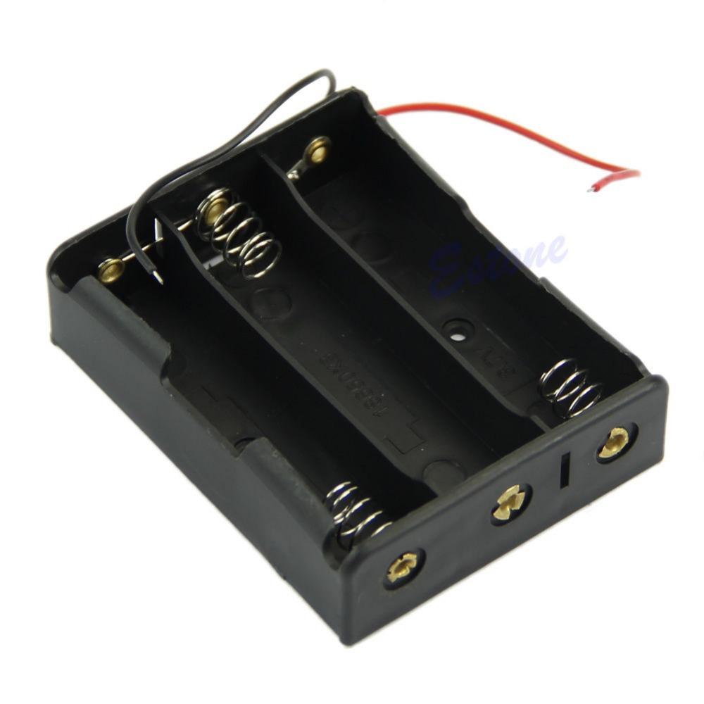 "Гаджет  Free Shipping Plastic Battery Storage Case Box Holder For 3 x 18650 Black With 6"" Wire Leads None Электротехническое оборудование и материалы"