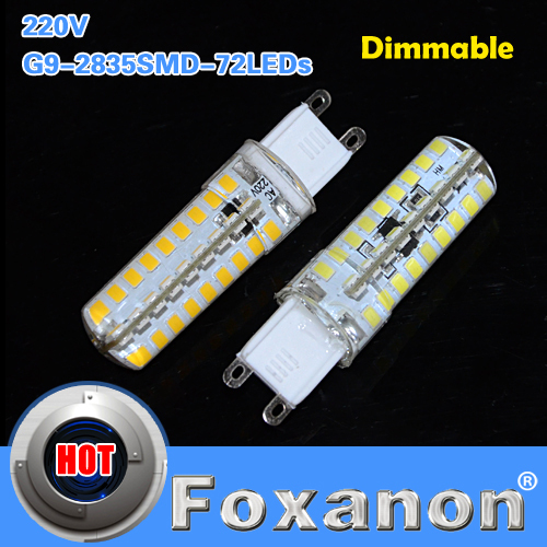 Foxanon Brand Dimmable LED Light G9 220V 2835 SMD 72LEDs Lamps 9W Corn Bulb Silicone Dimmer Droplight Lighting 5PCS/LOT(China (Mainland))