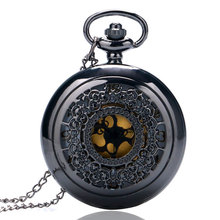 Black Vintage Jewelry Steampunk Antique Necklace Pocket Watch P240