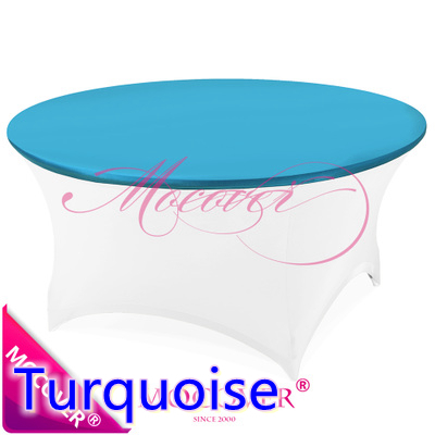 Turquoise spandex elegant table linen fit 5ft-6ft round tables,lycra table top cover for wedding,banquet and party decoration(China (Mainland))