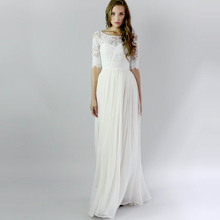 Buy Vintage Bohemian Lace Beach Wedding Dresses Half Sleeves 2017 Chiffon Buttons Boho Bridal Gowns 100 Robe De Mariage for $89.89 in AliExpress store