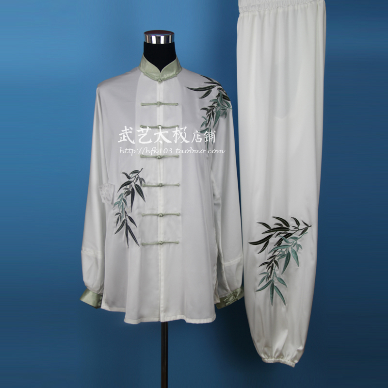 fist meaning spring Taijiquan exercise wear authentic martial arts clothing embroidered white leaves of male and female(China (Mainland))