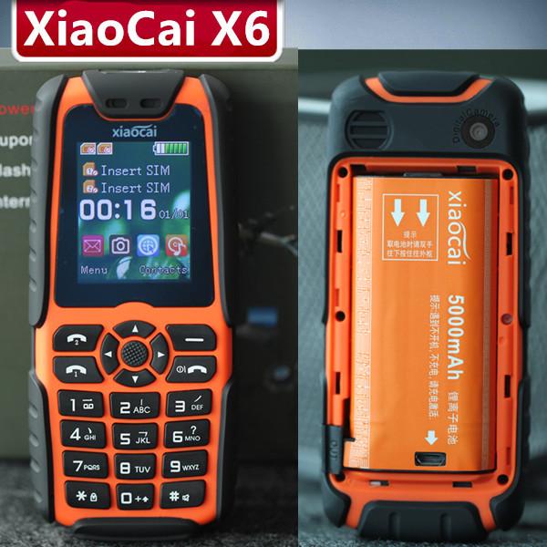 Original Xiaocai X6 Rugged Phone With Flashlight Shockproof Dustproof Dual SIM GSM Battery 5000Mah Power Bank Russian Keyboard(China (Mainland))