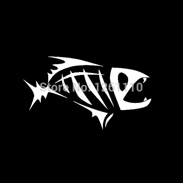 Large size skeleton tribal fish vinyl decal sticker kayak for Fish skeleton decal