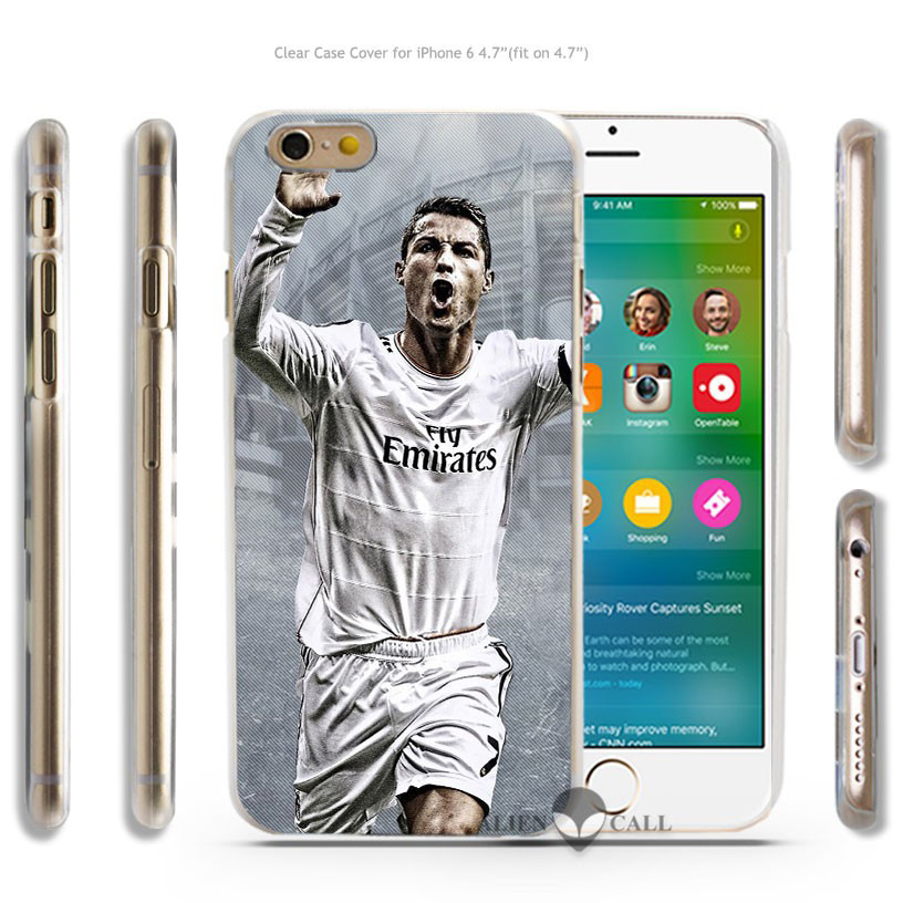 Cool Cristiano Ronaldo CR7 Love Football Hard Transparent Clear Case Cover Coque Shell for iPhone 4 4s 5 5s 5c 6 6 Plus(China (Mainland))