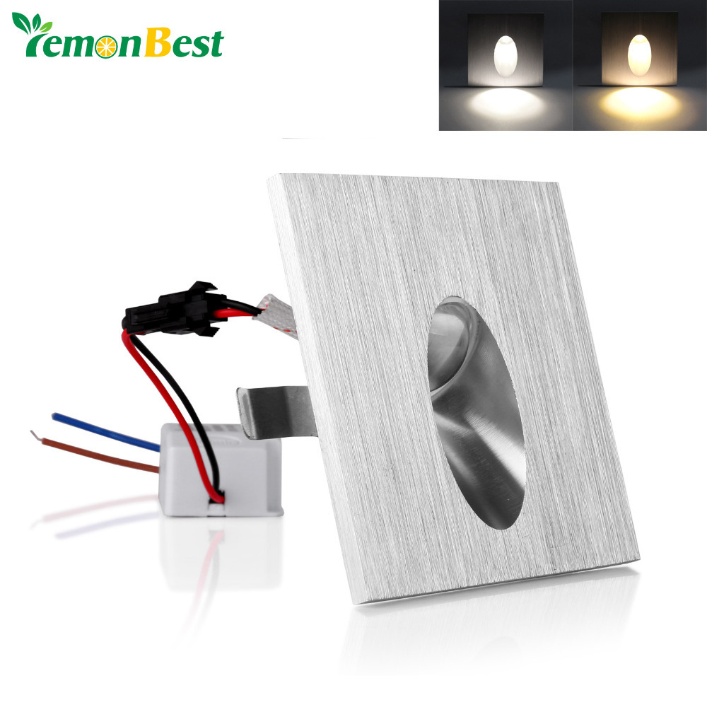 AC 85-265V 1W Square LED Recessed Porch Pathway Step Stair Light Wall Lamp Basement Bulb Led Spot Light Modern Home decoration(China (Mainland))