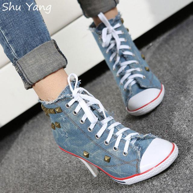 Новинка женщины сексуальное заклепки парусиновые туфли на высоких каблуках ботильоны, ...