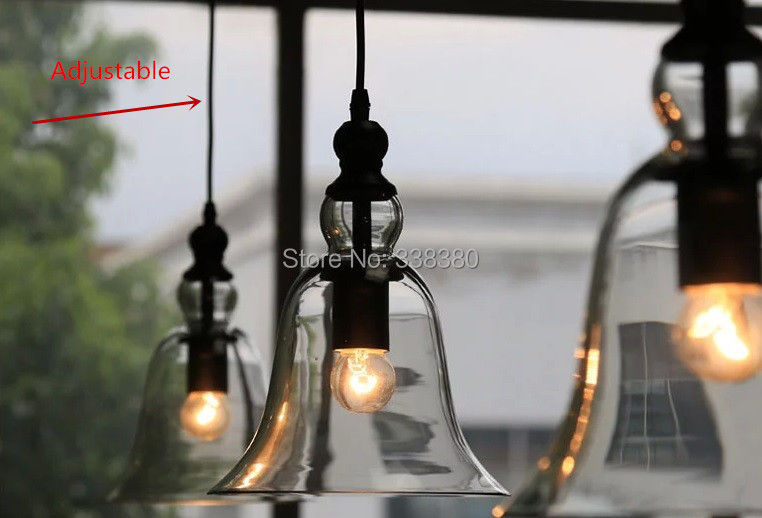 Modern Bell Clear Glass Kitchen Table Ceiling Lamp Pendant