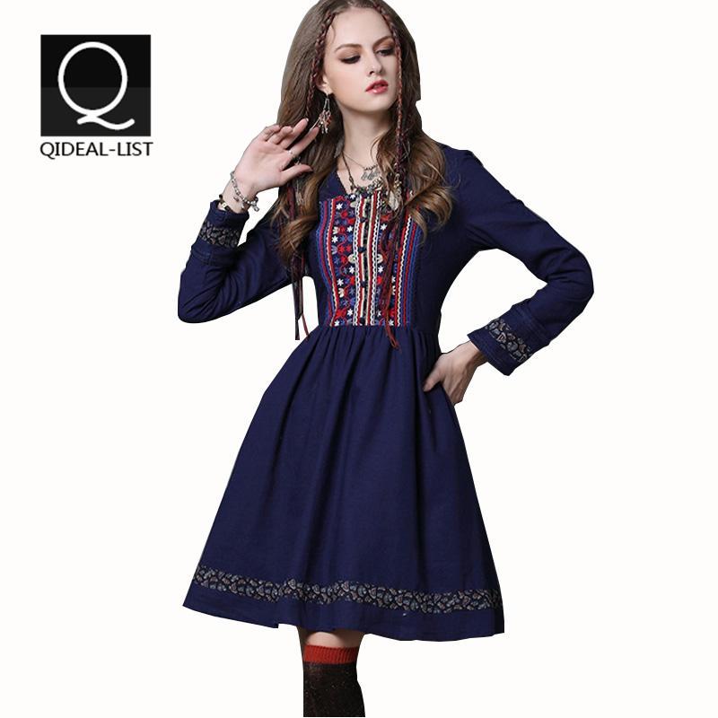 Qideal-L 2015 Vintage New Cotton Linen Square Collar Long Sleeve Fall Dress Floral Embroidery Detachable Belt Dresses Vestidos