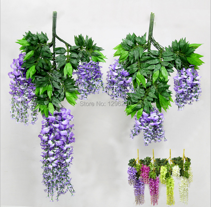 110cm silk wisteria garland artificial wisteria flower garlands perfect for wedding home paty. Black Bedroom Furniture Sets. Home Design Ideas