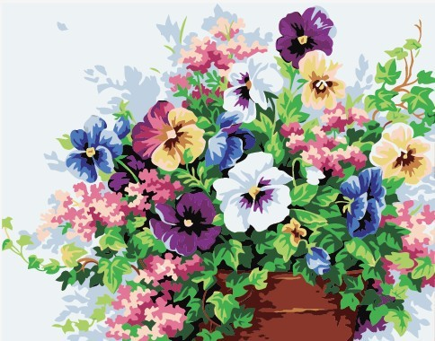 Box painting Pictures Paint By Numbers Digital Oil Painting On Canvas Decoration 40x40cm Flowers painting by numbers acrylic(China (Mainland))