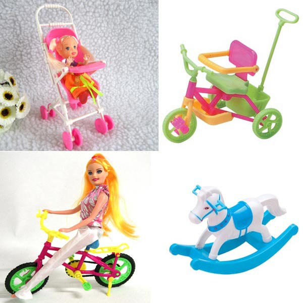 Horse +Bike+Strollers+Pedicab 2015 Hot Sale Baby Girl Christmas Lovely Cute Mini Plastic DIY Doll Accessories(China (Mainland))