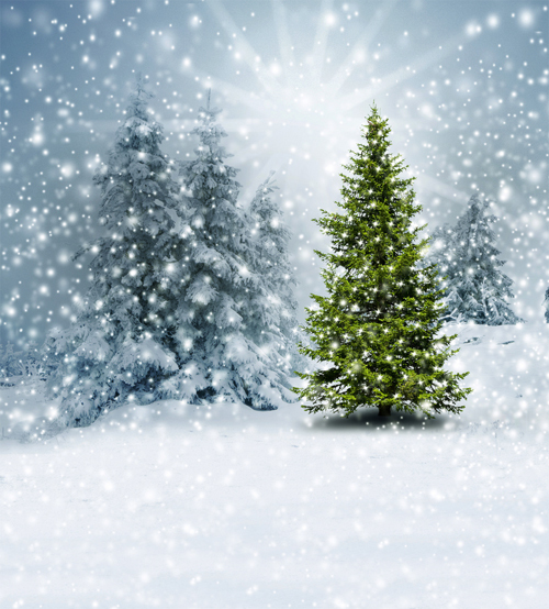 8X12ft   thin vinyl photography  Elk snow pine tree backgrounds  christmas backdrop for Photo studio CM-6103<br><br>Aliexpress