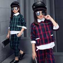 Buy Children Girls clothing set autumn teenage girls sport suit plaid print school kids clothes tracksuit 2pcs 4~13 T girls clothes for $23.75 in AliExpress store
