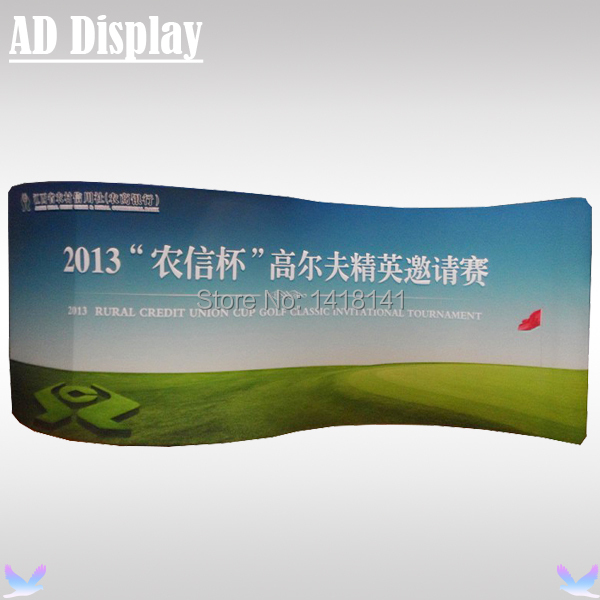 20ft*7.5ft S Shape Trade Show Aluminum Frame With Single Side Stretch Banner Printing,Durable Tension Fabric Display Equipment(China (Mainland))