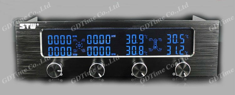"""1 Piece New 4 Channel 5.25"""" Drive Bay LCD Display Fan Speed Controller For CPU VGA Fan STW 6041(China (Mainland))"""