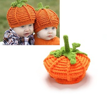 Orange Pumpkin Baby Infant Animal Crochet Knitting Costume Soft Adorable Clothes Photo Photography Props for 0-12 Month Newborn(China (Mainland))