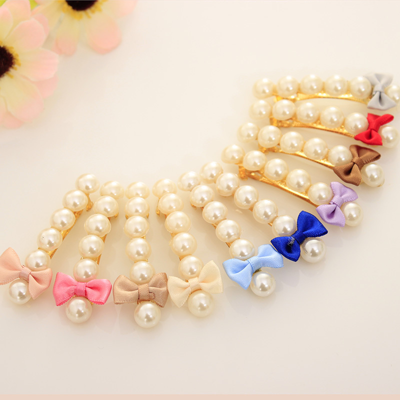 Beautiful Pearls and Bows Shaped Decoration Hairpins Hair Clips for Women Headwear Hair Accessories for Women(China (Mainland))