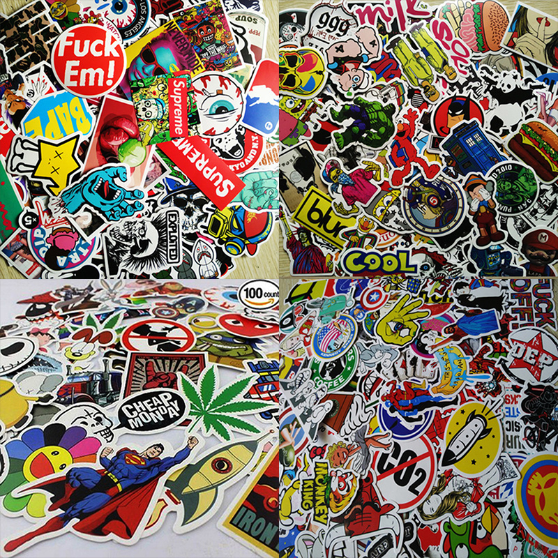 New Fashion 100pcs Drop Shipping Mixed Home Decor Styling Laptop Stickers For Skateboard Doodle Toys Stickers For Kids(China (Mainland))