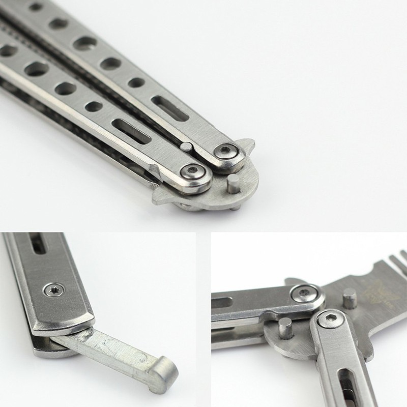 Stainless Steel Butterfly Flail Folded Knife Balisong Trainer Training Knife Silver Outdoor Tools