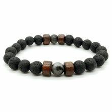 1pieces/Set Lava Stone Natural Stone Beads Men Bracelets Weave Charm Couple Bracelet For Men&women Jewellery Grace(China)