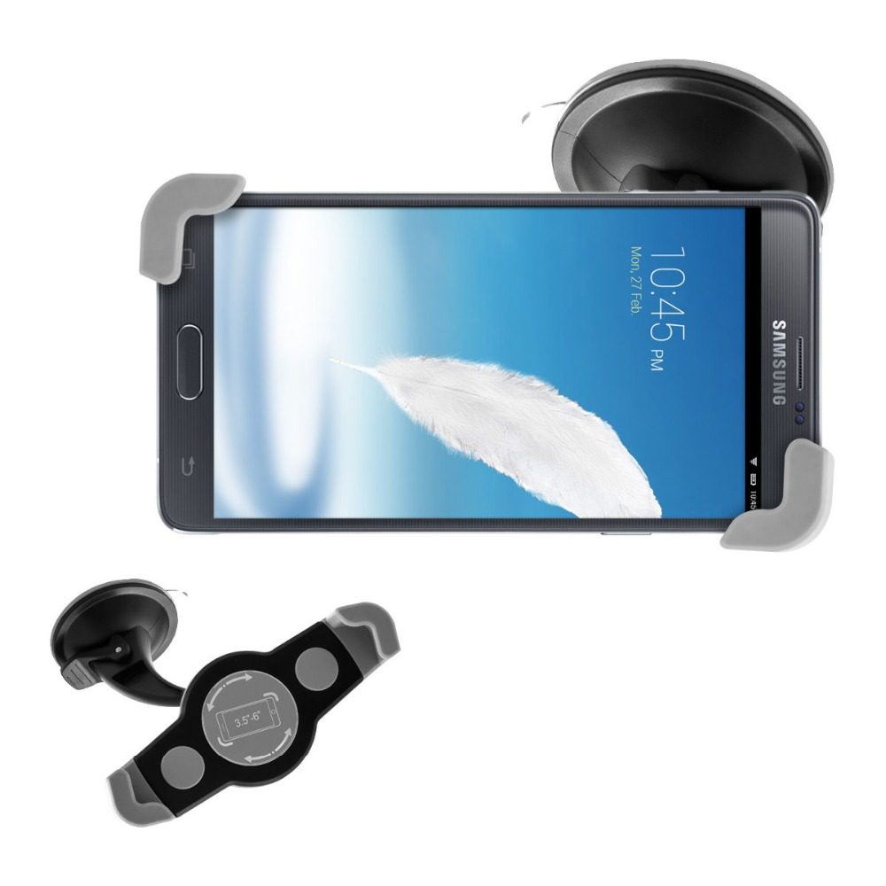3.5-6 inch Universal 360 Rotating Windshield Car phone Holder Stand For Samsung Galaxy Note 3 4 5 multifunction GPS Mount New N(China (Mainland))