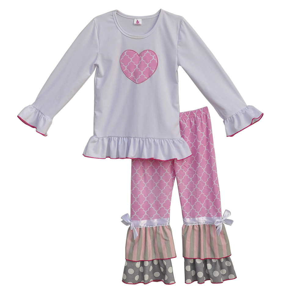 Lovely Girls Boutique Spring Winter Clothing Heart Shaped White Top Pink Ruffles Pants Children Knitted Cotton Outfits CO161(China (Mainland))